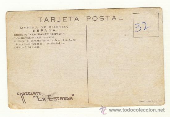 Postales: DOS TARJETAS POSTALES DE MARINA DE GUERRA ESPAÑA CRUCERO ALMIRANTE CERVERA Y CRUCERO MENDEZ NUÑEZ. - Foto 4 - 25377580