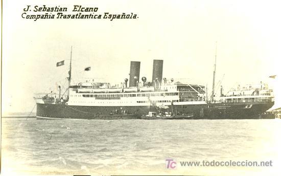 TARJETA POSTAL DE BARCO.COMPAÑIA TRASATLANTICA ESPAÑOLA. J. SEBASTIAN ELCANO (Postales - Postales Temáticas - Barcos)