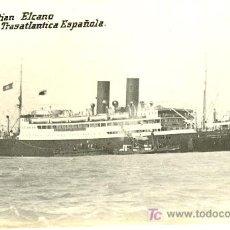 Postales: TARJETA POSTAL DE BARCO.COMPAÑIA TRASATLANTICA ESPAÑOLA. J. SEBASTIAN ELCANO. Lote 19325410