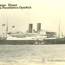 Postales: TARJETA POSTAL DE BARCO.COMPAÑIA TRASATLANTICA ESPAÑOLA. J. SEBASTIAN ELCANO. Lote 9871462