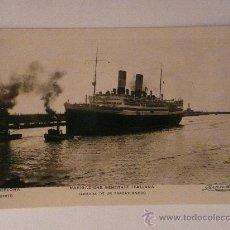 Postales: TRASATLÁNTICO 'NAVIGAZIONE GENERALE ITALIANA' LLEGANDO AL PUERTO DE BARCELONA.. Lote 17958426