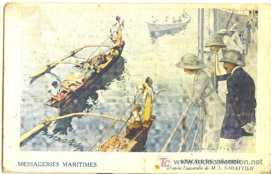 TARJETA POSTAL DE MENSAJERIAS MARITIMAS (Postales - Postales Temáticas - Barcos)