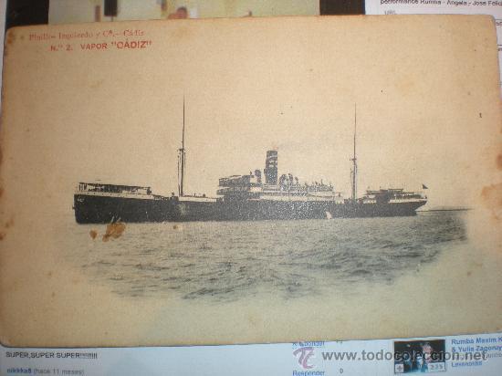 POSTAL Nº 2 VAPOR CADIZ - AÑO 1913 (Postales - Postales Temáticas - Barcos)