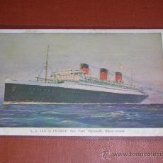Postales: FRENCH LINE,S.S. ILE DE FRANCE,NEW-YORK PLYMOUTH-HAVRE SERVICE.14X9 CM.. Lote 13068861