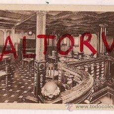 Postales: TARJETA POSTAL COMPAÑIA TRANSMEDITERRANEA VAPOR TEIDE SALON MUSICA LINEA FERNANDO POO. Lote 14641533