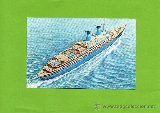 LAURO LINES. ACHILLE LAURO 25000 TONS. GENOVA. ITALIA. SIN CIRCULAR. (Postales - Postales Temáticas - Barcos)