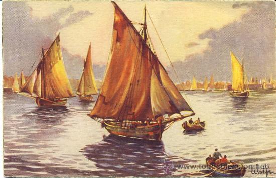 POST 177 - POSTAL NO CIRCULADA: VELEROS EN EL MAR - WOLFN - SERIE 127/2 - COLÓN - BENISI (Postales - Postales Temáticas - Barcos)