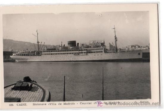 TARJETA POSTAL DE CADIZ Nº 628. MONTANAVE VILLA DE MADRID. FOTO L. ROISIN (Postales - Postales Temáticas - Barcos)