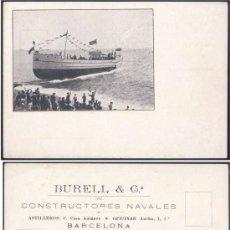 Postales: 1900.-POSTAL PUBLICITARIA DE LA BOTADURA DE UN BARCO EN LOS ASTILLEROS BURRELL Y CÍA. Lote 16433726