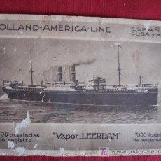 Postales: VAPOR LEERDAM - HOLLAND-AMERICA-LINE. Lote 17110920