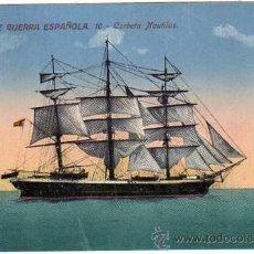 Postales: ANTIGUA POSTAL. MARINA DE GUERRA ESPAÑOLA. 10. CORBETA NAUTILUS. NO CIRCULADA. Lote 18528312