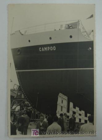 FOTOGRAFÍA. EN EL PUERTO, DETALLE DEL BARCO LLAMADO CAMPOO. (Postales - Postales Temáticas - Barcos)