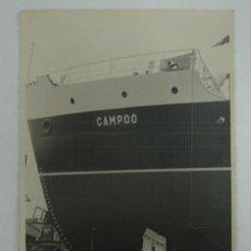 Postales: FOTOGRAFÍA. EN EL PUERTO, DETALLE DEL BARCO LLAMADO CAMPOO.. Lote 18833293
