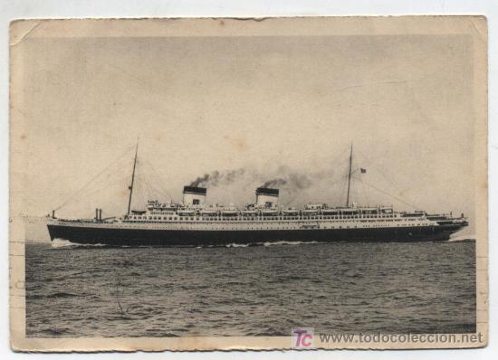 REX. TRANSATLANTICO ITALIANO. FRANQUEADO Y FECHADO EN PUENTE MAYOR EN 1937 CON SELLOS PROVIN- (Postales - Postales Temáticas - Barcos)