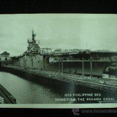 Postales: TARJETA POSTAL. USS PHILIPPINE SEA. TRANSITING THE PANAMA CANAL. AÑOS 50.. Lote 19246956