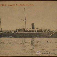 Postales: ANTIGUA POSTAL DEL BARCO MONTEVIDEO - COMPAÑIA TRASATLANTICA ESPAÑOLA - ED. GUILLERMO UH, CADIZ - NO. Lote 19302419