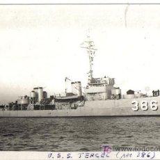 Postales: POSTAL FOTOGRAFICA BARCO DE GUERRA USS TERCEL AM 386. Lote 27106807