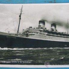 Postales: ANTIGUA POSTAL DEL BARCO ITALIANO SUPER ESPRESSO CONTE DI SAVOIA - AÑO 1935 - CONDE DE SAVOIA - CIRC. Lote 19583939