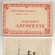 Postales: CARPETA CON 10 TARJETAS POSTALES BARCO TRANSATLANTICO LAFAYETTE PAQUEBOT FRENCH LINE C. G. T. . Lote 27560111