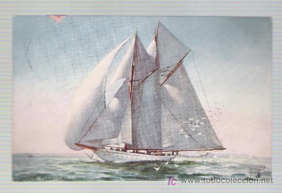 UNDER FULL SAIL. FRANQUEADA Y FECHADA EN SEVILLA EN 1907. (Postales - Postales Temáticas - Barcos)
