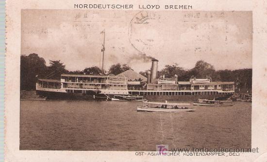 OST - ASIATISCHER KUSTENDAMPFER,. DELI. FRANQUEADO Y FECHADO EN SEVILLA EN 1930. (Postales - Postales Temáticas - Barcos)