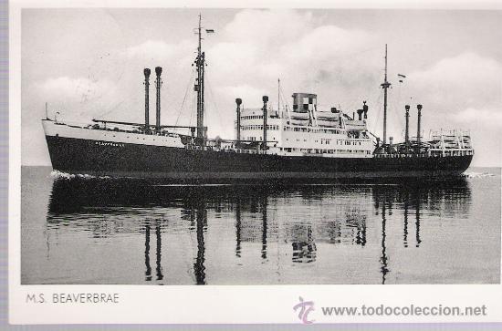 M.S. BEAVERBRAE. FRANQUEADO Y FECHADO EN BREMEN EN 1954. (Postales - Postales Temáticas - Barcos)