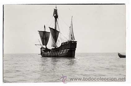 POSTAL FOTOGRAFICA, BARCO: CARABELA SANTA MARIA. EN REVERSO SELLO DE HERALMI LDA. (Postales - Postales Temáticas - Barcos)