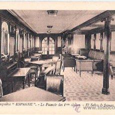 Postales: EDITION SPECIALE DE LA CIE. GLE. TRANSATLANTIQUE. PAQUEBOT ESPAGNE, LE FUMOIR DES 1ª CLASSES.. Lote 23139365