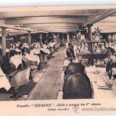 Postales: EDITION SPECIALE DE LA CIE. GLE. TRANSATLANTIQUE. PAQUEBOT ESPAGNE, SALLE A MANGER DES 1ª CLASSES.. Lote 23139407