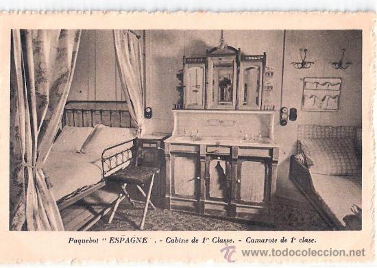 EDITION SPECIALE DE LA CIE. GLE. TRANSATLANTIQUE. PAQUEBOT ESPAGNE, CABINE DE 1ª CLASSE. (Postales - Postales Temáticas - Barcos)