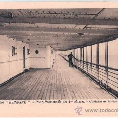 Postales: EDITION SPECIALE DE LA CIE. GLE. TRANSATLANTIQUE. PAQUEBOT ESPAGNE, PONT-PROMENADE DES 1ª CLASSES.. Lote 23139613