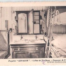 Postales: EDITION SPECIALE DE LA CIE. GLE. TRANSATLANTIQUE. PAQUEBOT ESPAGNE, CABINE DE 2ª CLASSE.. Lote 23139670