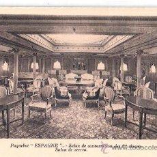 Postales: EDITION SPECIALE DE LA CIE. GLE. TRANSATLANTIQUE. PAQUEBOT ESPAGNE, SALON DE CONVERSATION 1ª CLASSE.. Lote 23139733