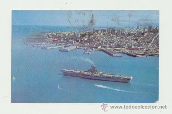 POSTAL. DE EE.UU (SAN FRANCISCO) A PORTUGAL. FECHADA Y FRANQUEADA EN 1967. BAHÍA DE SAN FRANCISCO. (Postales - Postales Temáticas - Barcos)