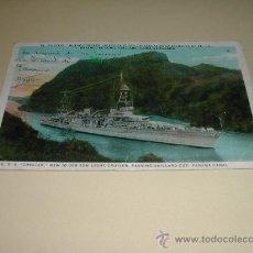 Postales: POSTAL ANTIGUA BARCO U.S.S. CHESTER CRUZANDO EL CANAL DE PANAMÁ. Lote 24214060