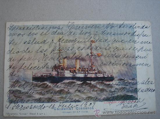 POSTAL ANTIGUA CON TEMÁTICA DE BARCOS -CRUCERO CARDENAL CISNEROS-. CIRCULADA Y FECHADA EL 16-VI-1909 (Postales - Postales Temáticas - Barcos)