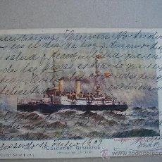 Postales: POSTAL ANTIGUA CON TEMÁTICA DE BARCOS -CRUCERO CARDENAL CISNEROS-. CIRCULADA Y FECHADA EL 16-VI-1909. Lote 27396340