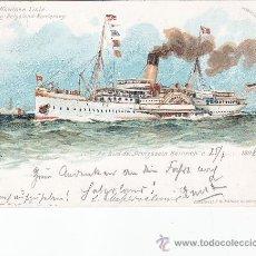 Postales: BONITA Y RARA POSTAL AÑO 1898 CON MARCA A BORDO DEL BUQUE PRINZESSIN HEINRICH DE LA COMPAÑIA NORDSEE. Lote 26327317