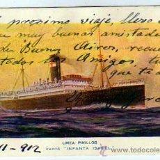 Postales: BARCO MERCANTE. LINEA PINILLOS. VAPOR INFANTA ISABEL. CIRCULADA EN 1912.. Lote 26431486