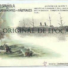 Postales: (PS-22404)POSTAL SOCIEDAD ESPAÑOLA DE SALVAMENTO DE NAUFRAGOS-ALFONSO XII. Lote 26587277