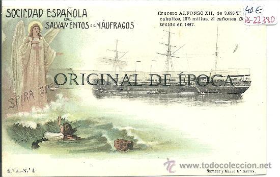 (PS-22380)POSTAL SOCIEDAD ESPAÑOLA DE SALVAMENTO DE NAUFRAGOS-CRUCERO ALFONSO XII (Postales - Postales Temáticas - Barcos)