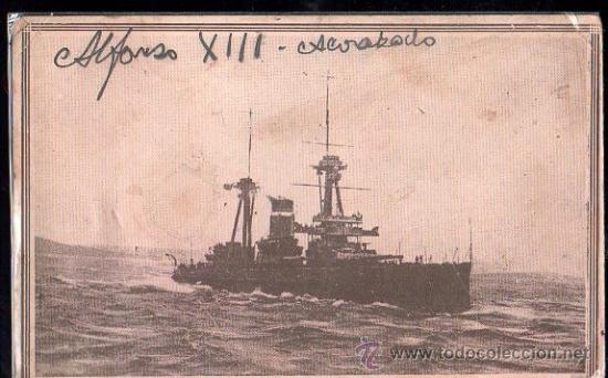 TARJETA POSTAL DEL ACORAZADO ALFONSO XIII (Postales - Postales Temáticas - Barcos)