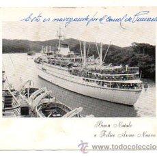 Postales: BARCO NAVEGANDO POR EL CANAL DE PANAMÁ. (TARJETA FELICITACIÓN). Lote 27926806