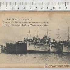 Postales: TARJETA TIPO POSTAL BARCO DESTROYER SANCHEZ BARCAIZTEGUI ALCALA GALIANO S.E.C.N. CARTAGENA MURCIA. Lote 27947751