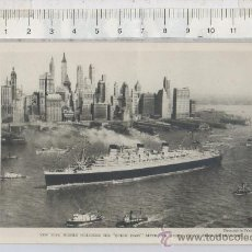 Postales: TARJETA POSTAL DE BARCO QUEEN MARY EN NUEVA YORK DESDE SOUTHAMPTON ESTADOS UNIDOS USA RASCACIELOS. Lote 27958922