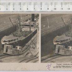 Postales: FOTO ESTEREOSCOPICA TIPO TARJETA POSTAL DE BARCO Y TREN TRACTOR REMOLCADOR MULAS EN CANAL DE PANAMA. Lote 27966850