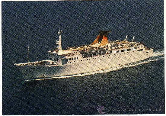 BONITA POSTAL - BARCO CIUDAD DE VALENCIA - TRANSMEDITERRANEA (Postales - Postales Temáticas - Barcos)