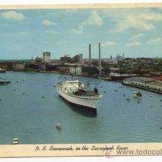 Postales: NUCLEAR SHIP SAVANNAH, IN THE SAVANNAH RIVER, BARCO PROPULSIÓN NUCLEAR, ATÓMICA. Lote 28325223