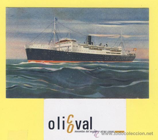 BARCO-BARCOS -MARQUES DE COMILLAS 1954 COMPAÑIA TRANSATLANTICA ESPAÑOLA P-1092 (Postales - Postales Temáticas - Barcos)