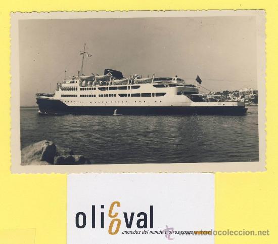 BARCO-BARCOS -TRASBORDADOR VICTORIA SALIENDO DEL PUERTO DE PALMA EN EL 1953 DATADA -P-1069 (Postales - Postales Temáticas - Barcos)